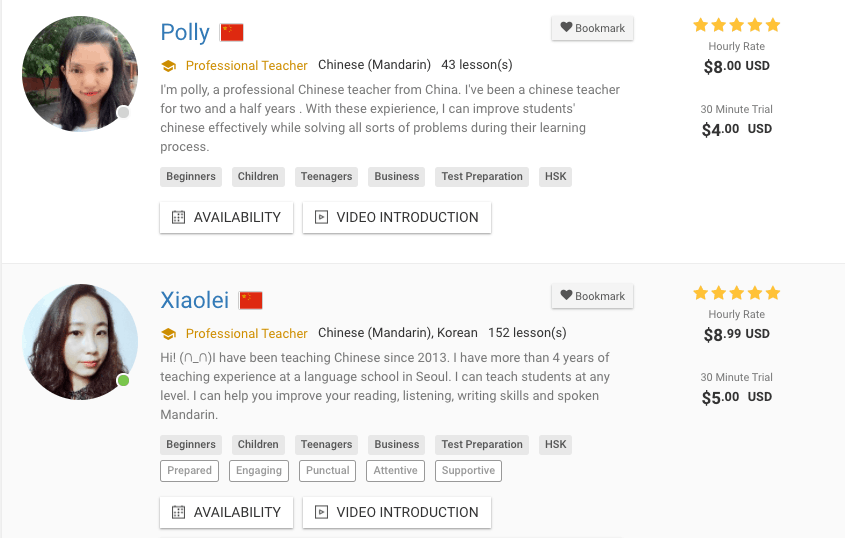 Find a Mandarin teacher on italki