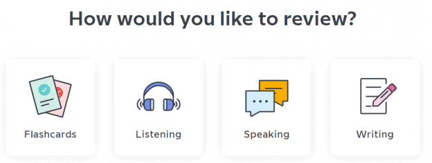 A list of review options, including Flashcards, Listening, Speaking, and Writing.