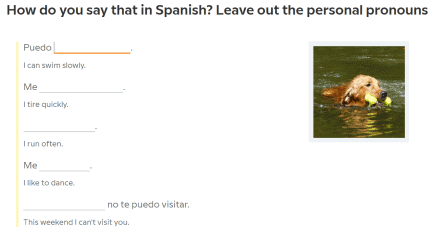 An example of a Babbel exercise in which you complete the translation.