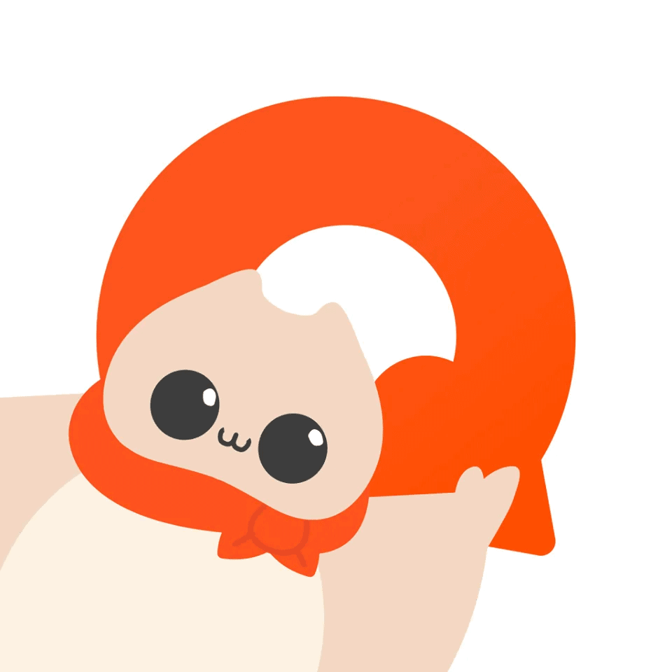 """The HiNative logo, showing the flying squirrel mascot and an orange """"Q."""""""