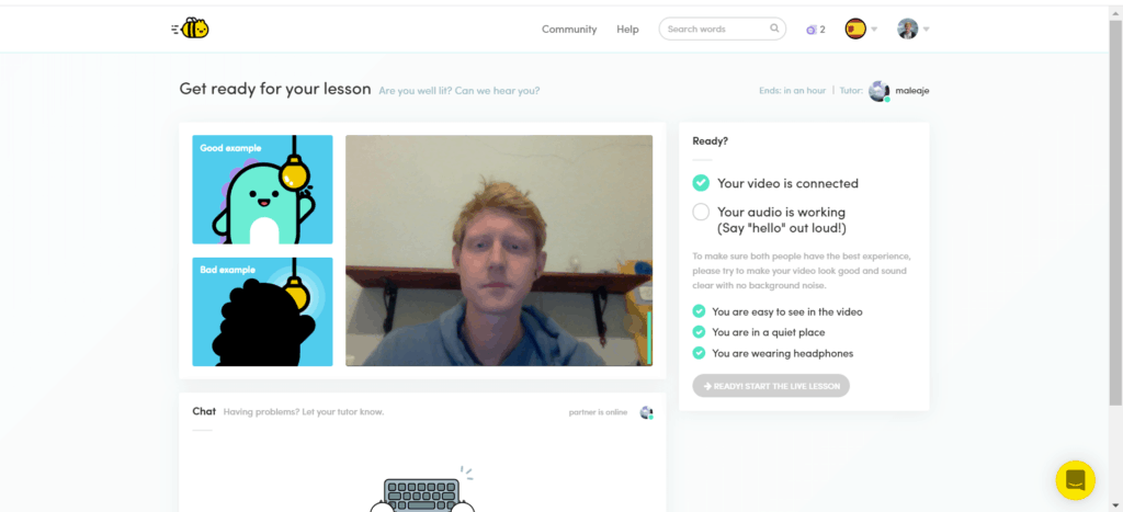 Screenshot of the waiting room before a Live Lesson where the user can adjust their video and audio.