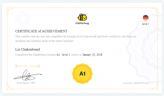 Example Certificate showing proficiency at the A1 level in German.