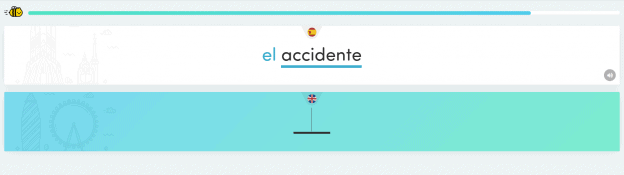 "Study Card example showing the Spanish, ""el accidente."""