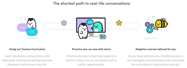 "A graphic on the Chatterbug website showing animal characters and the line, ""The shortest path to real-life conversations."""
