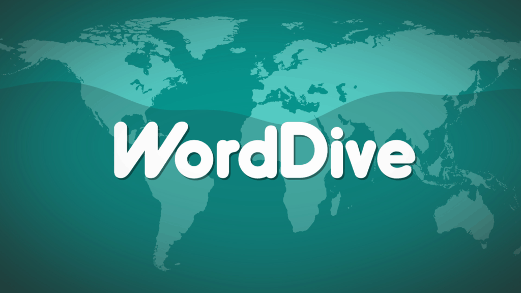 "A dark green world map showing the words, ""Word Dive"" in white."