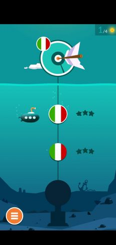 The home screen of the mobile app showing a deep-sea scene with a submarine and a progress meter.