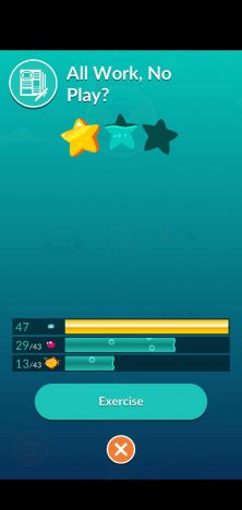 "Screenshot showing one out of three stars earned in the course, ""All Work, No Play?"""