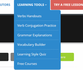 This is the drop-down menu of Learning Tools available on Live Lingua for practicing Spanish.