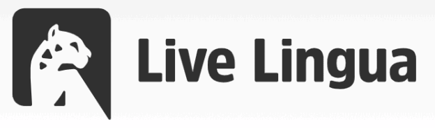 """Logo showing a black-and-white leopard and the words, """"Live Lingua."""""""