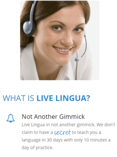 A stock photo from the Live Lingua website, showing a smiling girl wearing a headset.