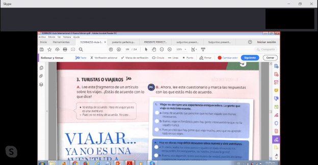 This is a screenshot of a Skype lesson, showing the PDF of a Spanish language book.