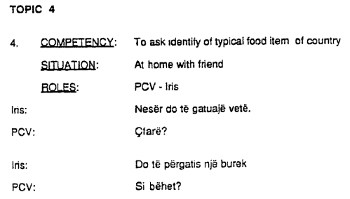 """Sample text from a document titled, """"Albanian Language Competencies for Peace Corps Volunteers."""""""