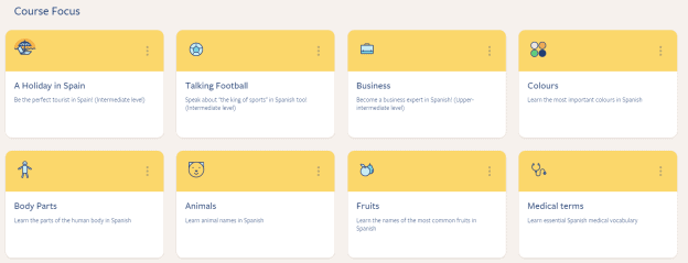 This screenshot of the Dashboard shows some of the different Course Focus options one can choose from.