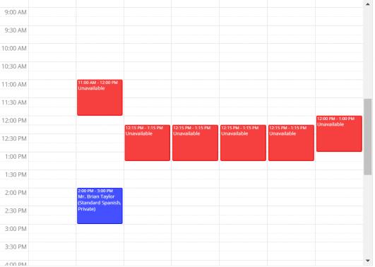 An example of a Live Lingua teacher's schedule that shows available and unavailable times.