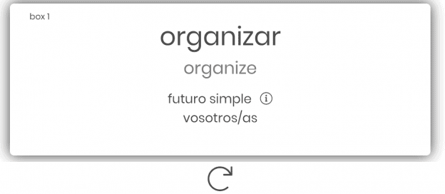"Flashcard showing the word ""organizar."""