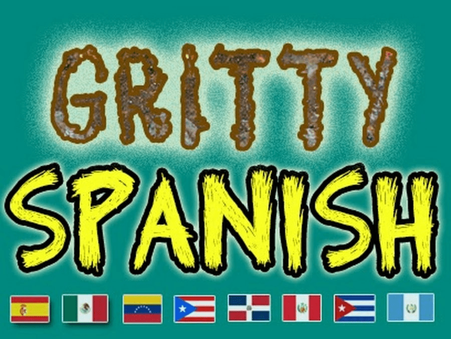 The Gritty Spanish logo, with images of flags from different Spanish-speaking countries.