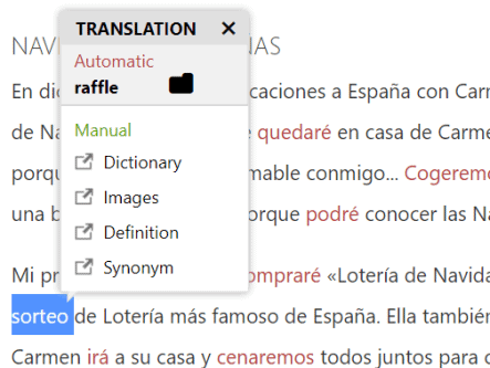"This screenshot shows the Lengalia translation tool in action; it's showing the English translation of the highlighted Spanish word, ""sorteo."""