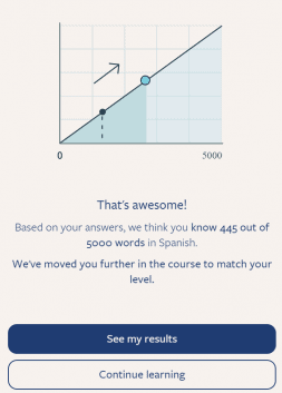 This is the screen that shows up after you complete the placement test. It tells you how many words it thinks you know.