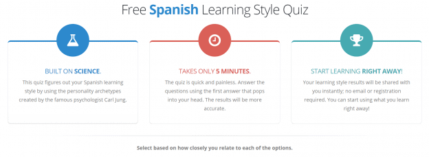"""Screenshot of a table outlining the benefits of the free Spanish learning style quiz: it's """"built on science,"""" and """"takes only 5 minutes."""""""