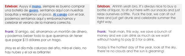 The transcript displays the Spanish version of the dialogue on the left-hand side and the English on the right.