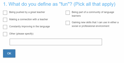 """Example survey question from Live Lingua that asks, """"What do you define as fun?"""""""