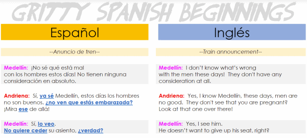 A sample of a transcript from a Gritty Spanish Beginnings lesson.