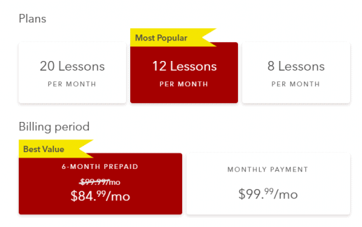 This image shows the price for a six-month subscription to Rype with 12 lessons a month. It costs $84.99/month.