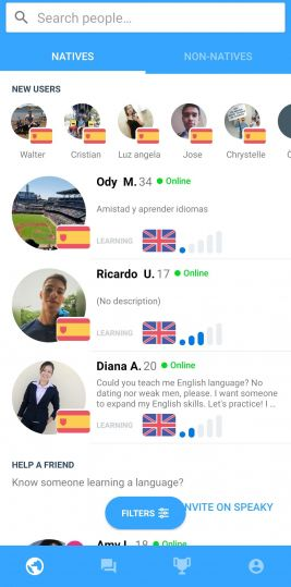 This is the home page on Speaky, where you can find other language learners to chat with.