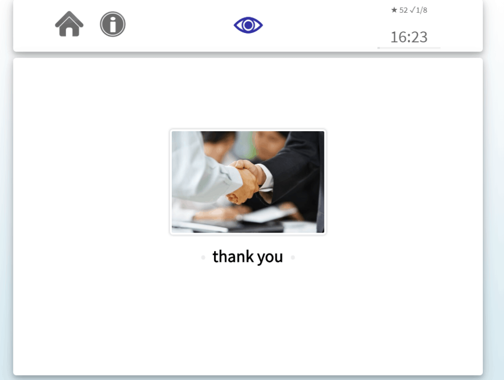 "This side of the flashcard shows the phrase ""thank you"" in English."