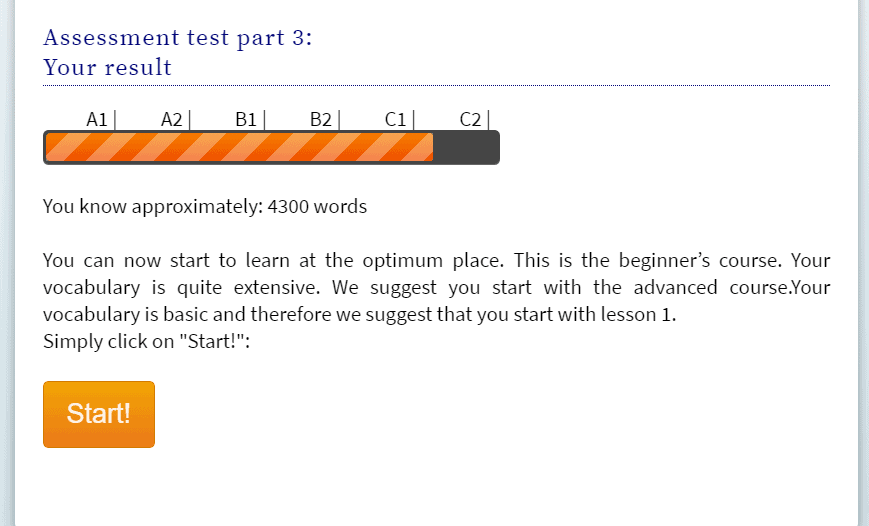 The results show that I know approximately 4300 words and am at the C1 CEFR Level.