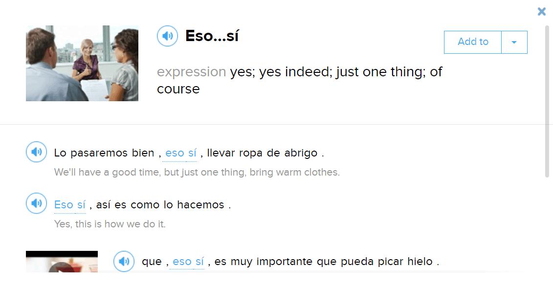 "Extra language information for ""Eso sí"""